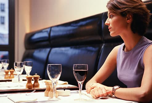 Woman kept waiting at restaurant table