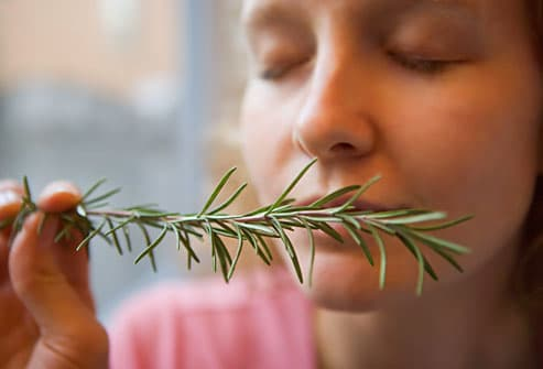 Woman smelling sprig of rosemary