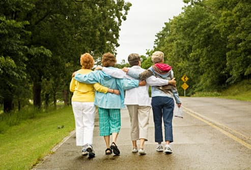 Mature women walking