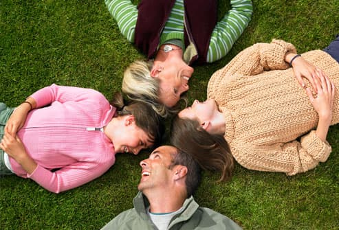Family Laying on Ground