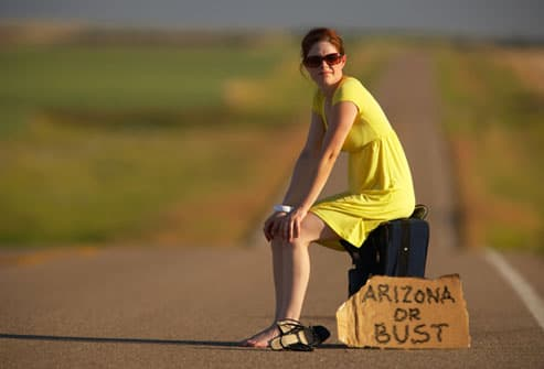 Allergic woman hitchhiking her way to Arizona
