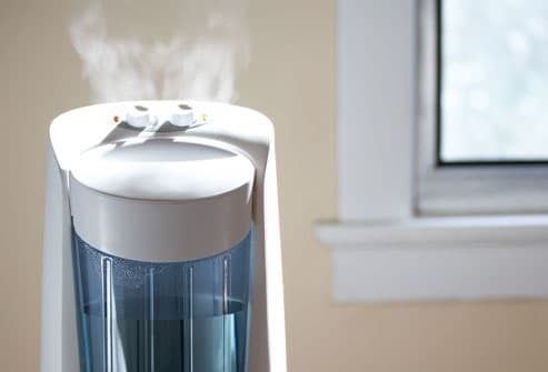 Steam coming from tabletop humidifier