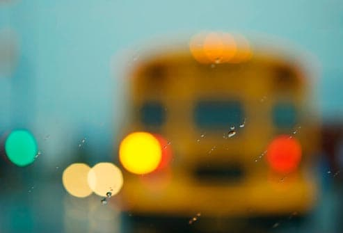 school bus seen through windshield