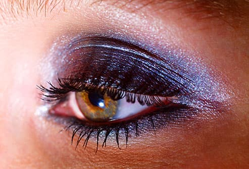 woman with shimmering eye shadow