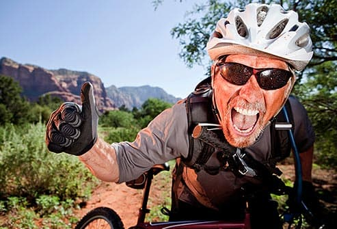 mountain biker giving thumbs up