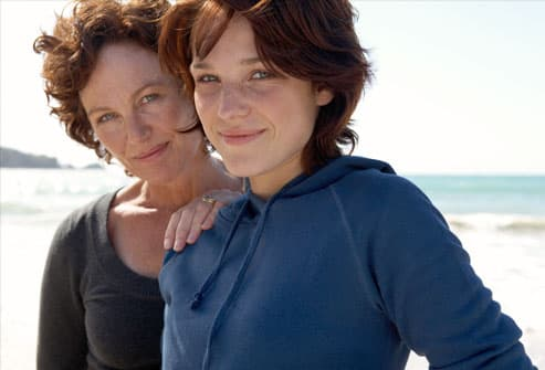 Portrait of mother and daughter on beach