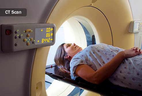 woman receiving ct scan