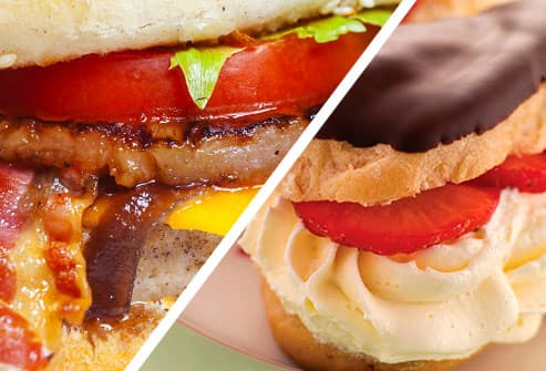 diptych of cheeseburger and pastry