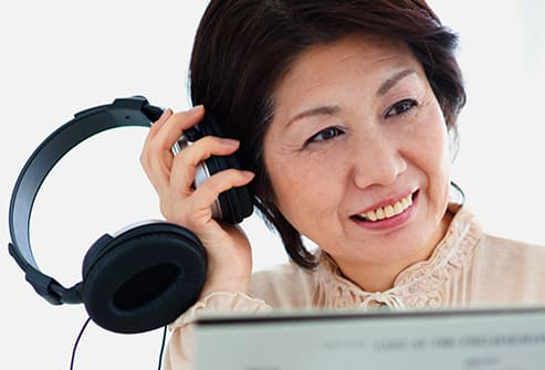 woman listening to music