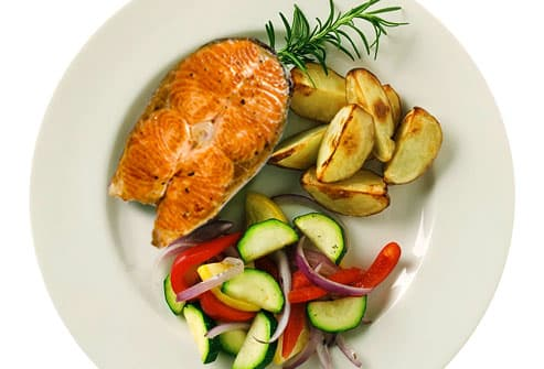 New American Plate with Salmon and Vegetables