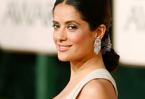 Salma Hayek arrives at 2009 Golden Globe awards