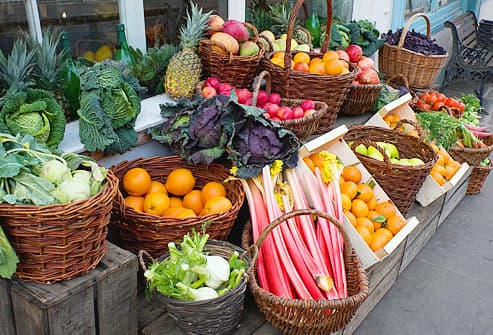 Outdoor display of fresh fruits and vegetables