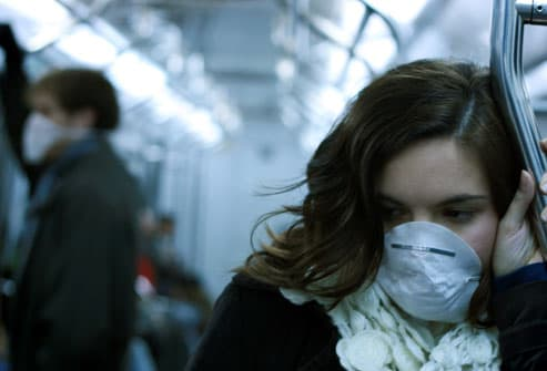 Woman Wearing Germ Mask in Subway