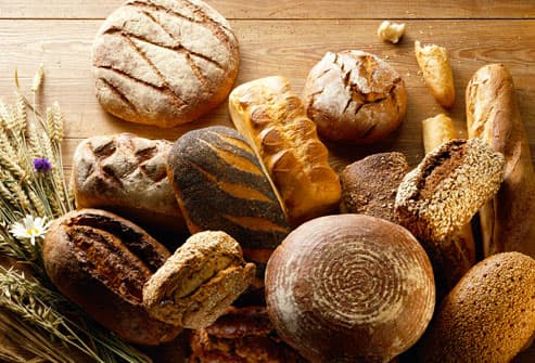 Assorted breads on a table
