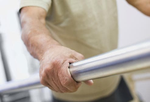 copd patient using handrail