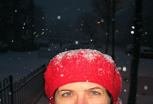 woman out in snowstorm