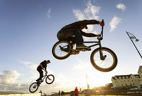 man jumping bike
