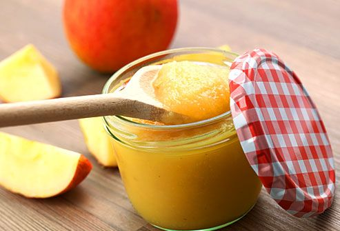 Homemade applesauce in glass jar