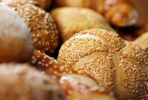Detail of breads & rolls & croissants