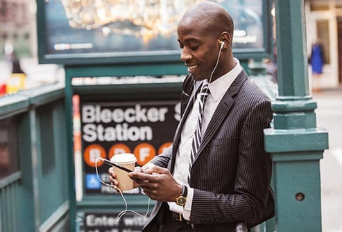 businessman making hands free call