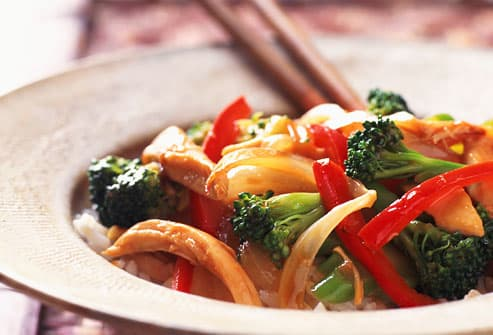 Bowl of healthy Chinese stir fry