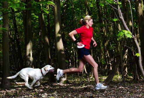 Woman and Dog Jogging