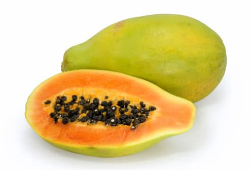 Papaya with cross-section