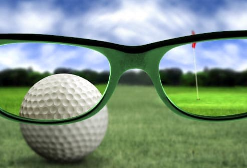 green lenses on golf course