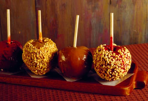 Four candied apples