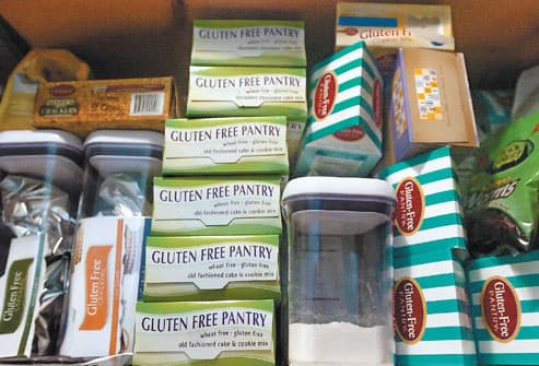 Selection of gluten free food products