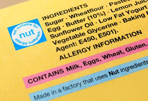 Food label with nut allergy warning