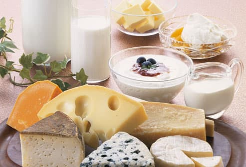 Assortment of dairy foods