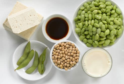 Assortment of soy based foods