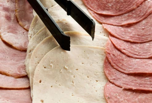 assortment of deli meats