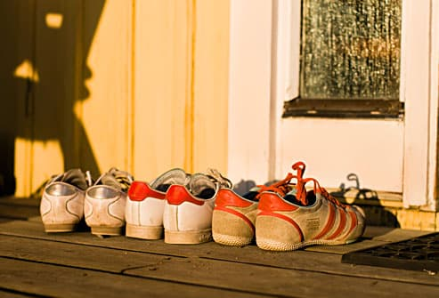 Sneakers airing out on front porch