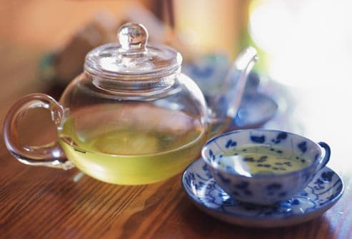 green tea in clear pot