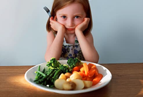 Girl in front of plate of veggies