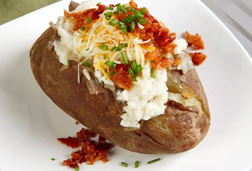 loaded baked potato with bacon 