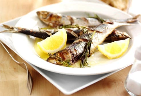 plate of grilled sardines