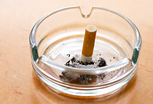 cigarette extinguished in an ashtray