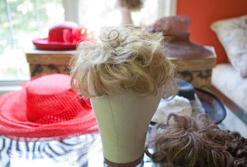 Assortment of hats and hairpieces
