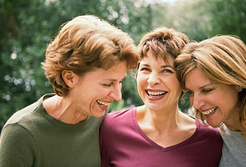 three mature women with colored hair