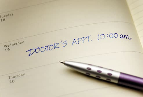 Doctors appointment reminder in planner