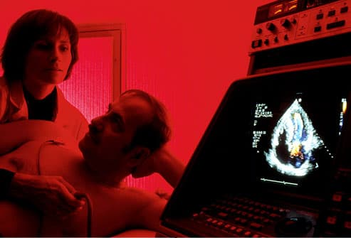 Man having an echocardiography (ultrasound) test