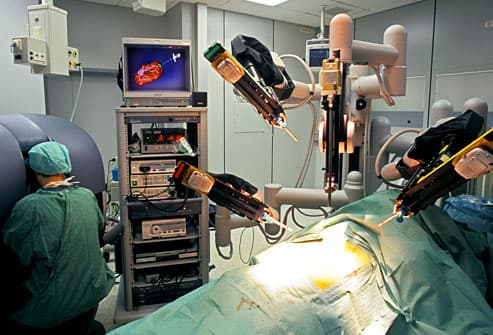 The Da Vinci robot surgical system in use