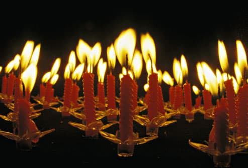 Burning Candles On Cake