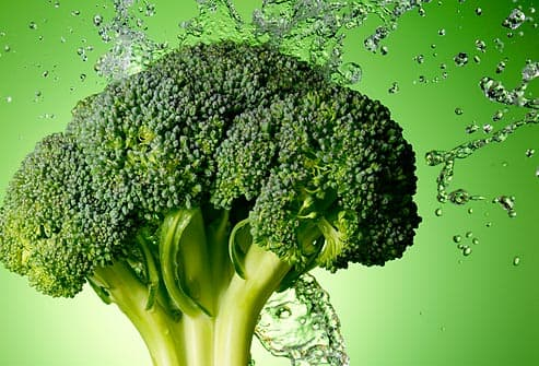 brocolli and water