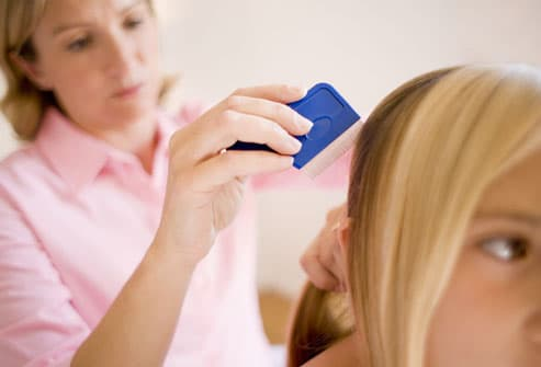 Mother combing daughter's hair with lice comb