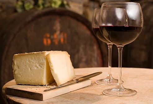 Aged cheese and red wine