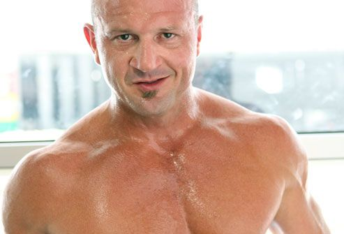 Man sweating after intense workout